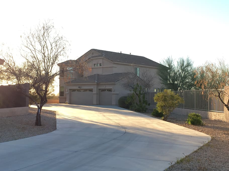 Long driveway leads to house with lots of privacy