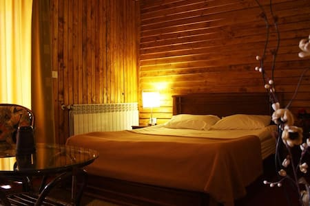 A spacious studio chalet for 2 persons with a king size bed. a chimney, an equipped kitchen, a bathroom with bathtub, and a balcony