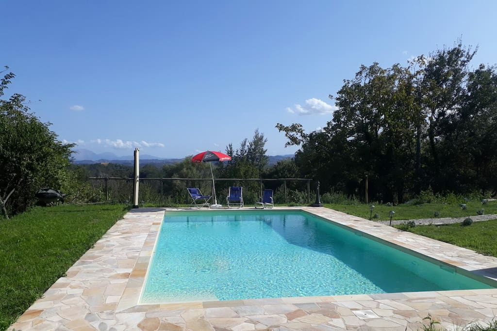 Private 10m x 5m pool with a solar-powered shower and stunning views of the mountains