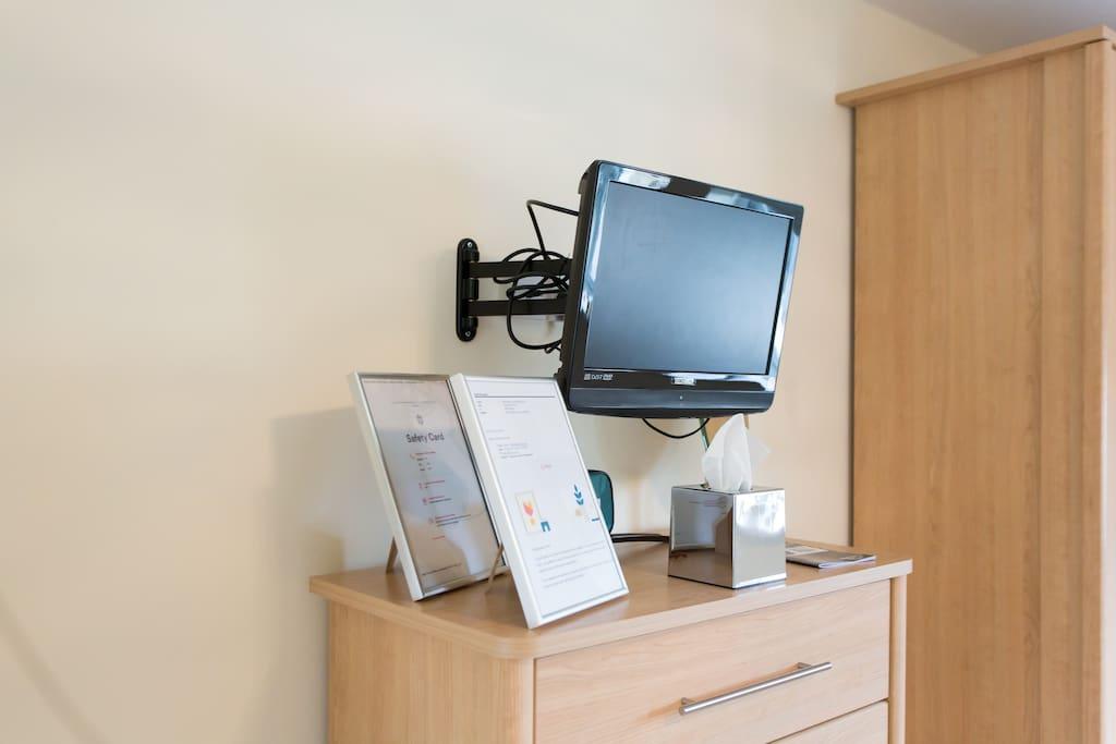 LCD TV inc DVD player in en suite bedroom