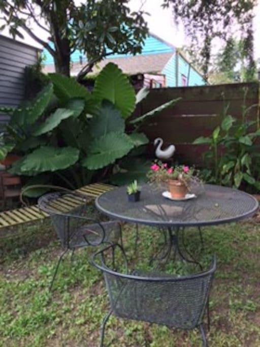 Banana tree and garden sitting