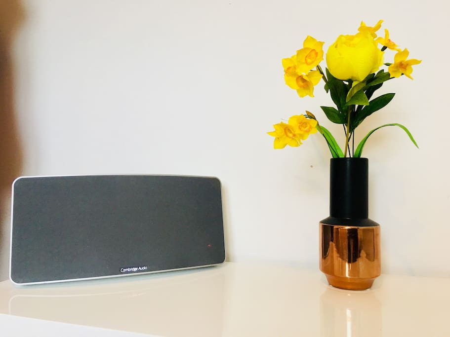 Top of the range Cambridge Audio  bluetooth speaker / Wi-Fi radio is also included in the guest bedroom.