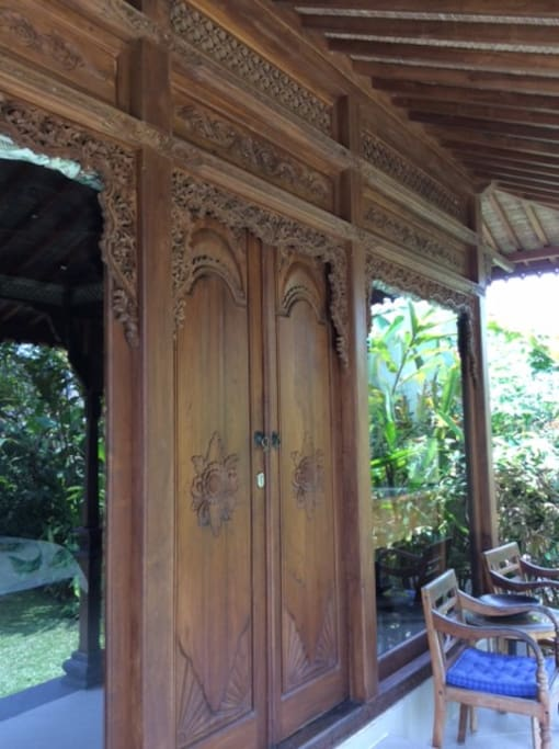 beautifully carved double front doors
