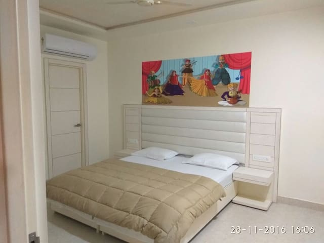 This bedroom has 2 single beds, they can be joined also like shown in this photo and they can be separated as 2 single beds also