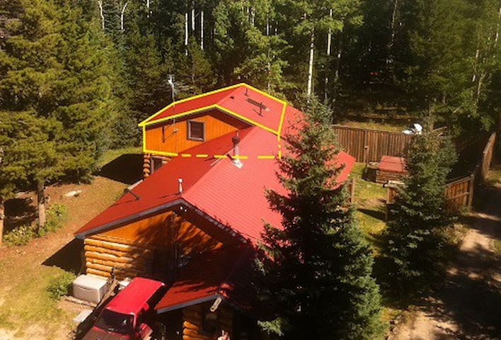 Master suite in rustic log cabin near Mt. Evans