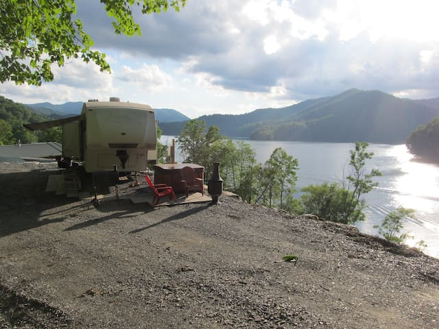 Awesome! lake view!,   RV cozy cabin with hot tub!