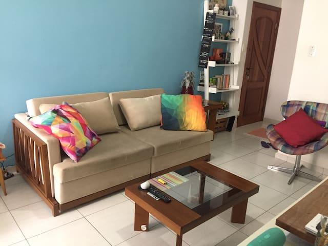 Vista da sala, espaço de socialização, sofá retrátil fechado. Vista da porta de entrada/saída do apto.