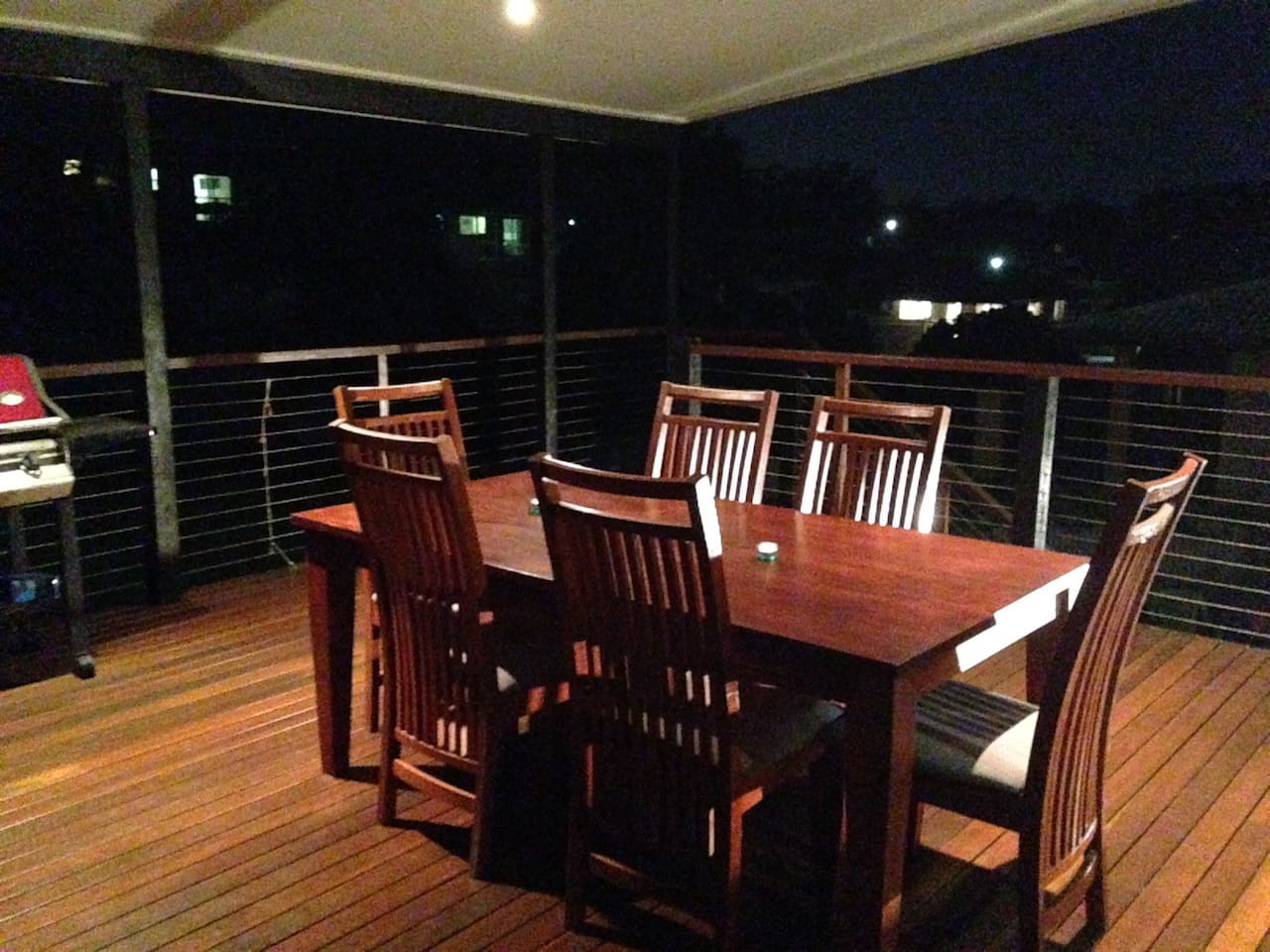Large rear deck overlooking bushland. BBQ, smoker and drinks fridge on deck available to use.