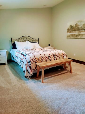 Bedroom equipped with cozy queen size bed and large closet