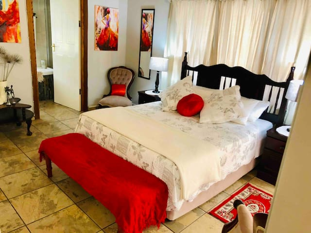 Master Bedroom 1 (Grey Room) - Sleeps a maximum of 2 guests. Private En-suite bathroom.