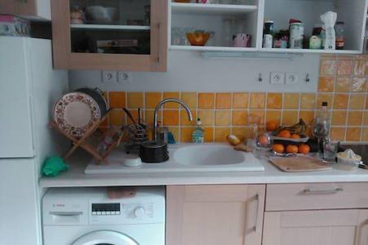 La cuisine avec lave linge, réfrigérateur, congélateur, , évier ...