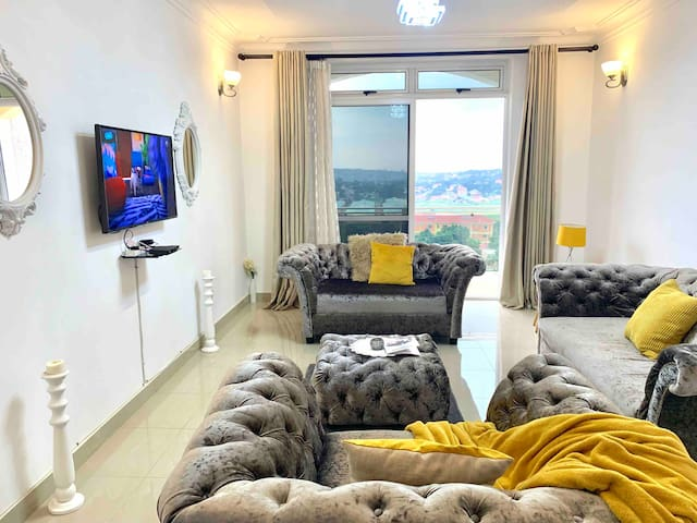 Luxury style sitting room with a beautiful view