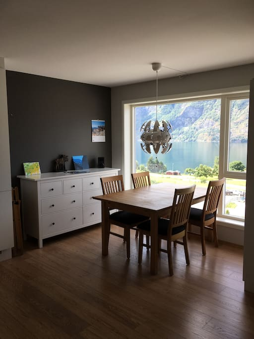 The dining area in the living room with view over the Aurlandsfjord.