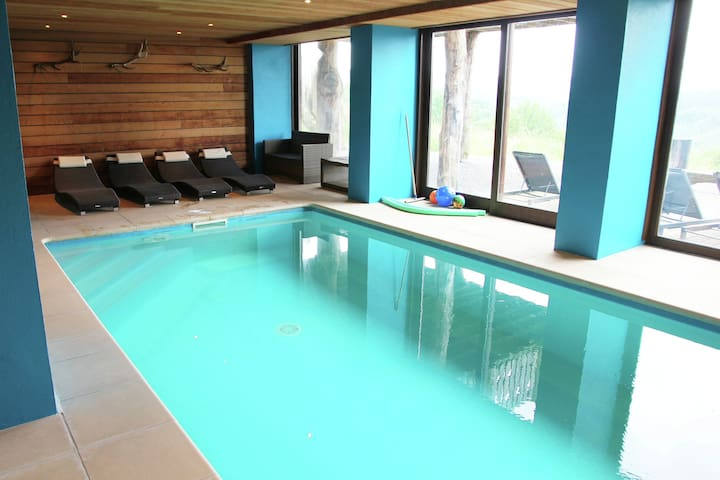 Luxurious detached holiday home with indoor swimming pool, sauna, pool table, and open fireplace