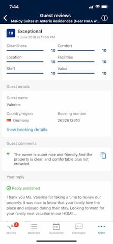 Perfect 10! Guest reviews from other Holiday Maker website (BDC)