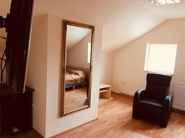 Golden room with a nice view of Carpatian Mountais