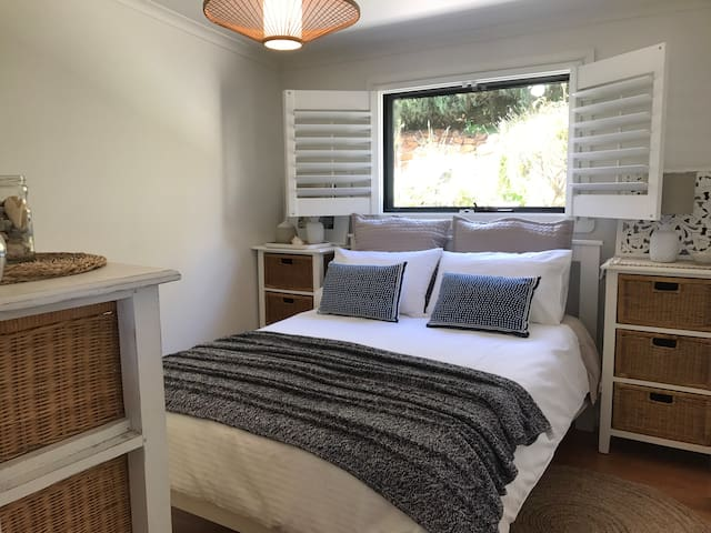 Comfortable beach holiday bedroom! Oh and see the sea from the bed!