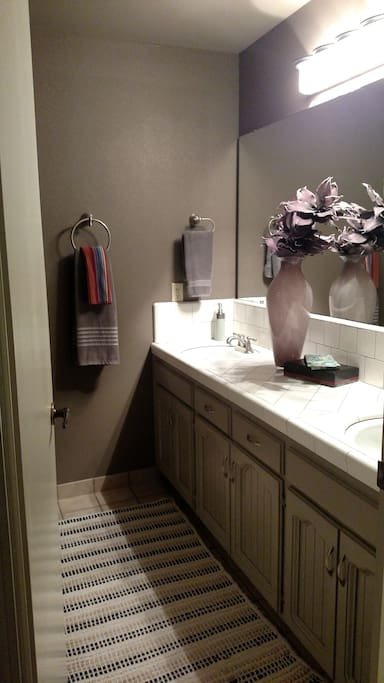 Bath with double sinks, shower and railing