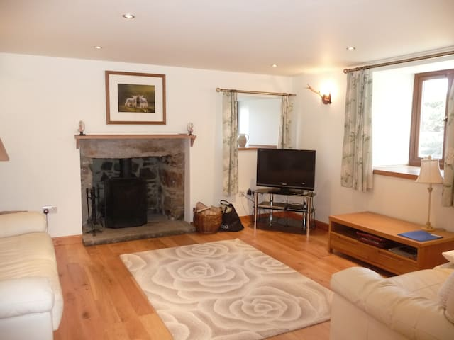The lounge has a cosy log burner with free logs provided, free wifi