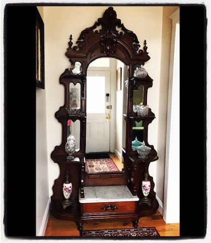 Front entry. 1850s Rococo Revival Etagere.