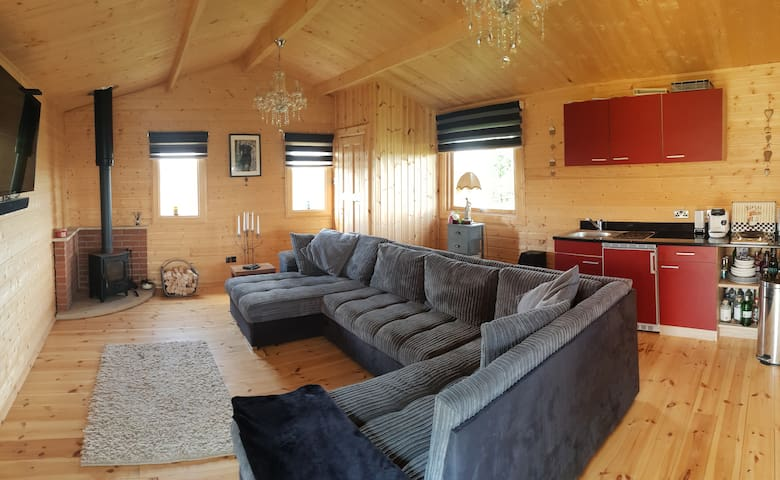 Inside the Lodge, double sofa bed.