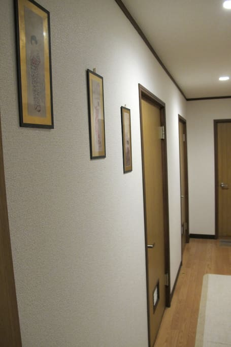 The hallway.. the black room the first door on the left