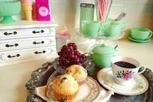 I Love baking! Homemade blueberry vanilla muffins, topped with a sprinkling of cinnamon sugar are a specialty of mine. Nothing like waking up to the scent of fresh baked goods & coffee brewing.  Even better is Breakfast in Bed!  Available upon request