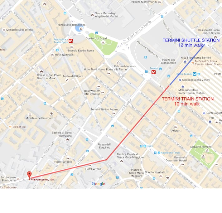 From the Airport, go to Termini station by Train or Shuttle (30 min). Termini train station - Home : 10 min walk; Termini Shuttle station - Home : 12 min walk