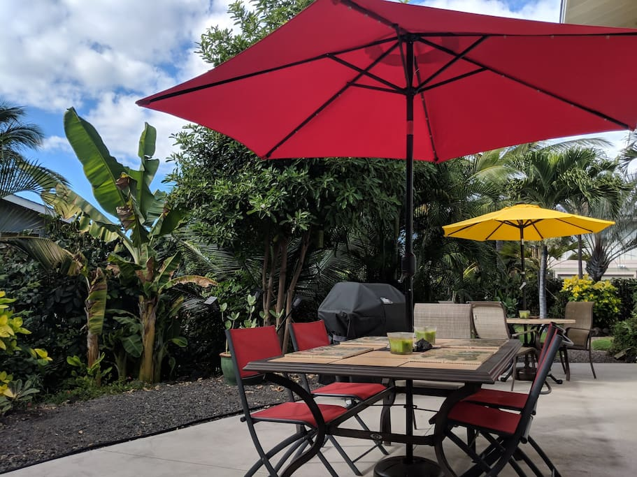 Outside your bedroom door. And yes, the grill is available for your use! A beautiful outdoor spot for meals or laptop work