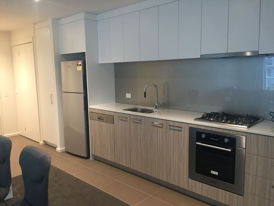 Modern,open kitchen with dish washer,oven and Gas cooking top.