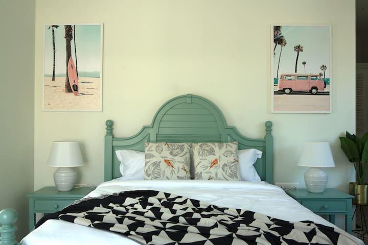 Nordic-Coastal Theme Bedroom with Ensuite Bathroom   Villa La Dolce Vita   Private Infinity Pool   Terrace Deck   Field Views   Fully Serviced
