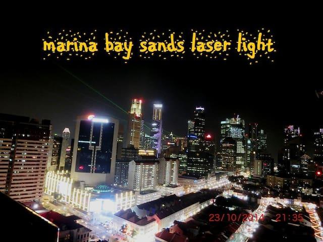 laser light display at Marina Sands on weekend