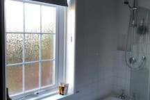 Bath & shower with garden view