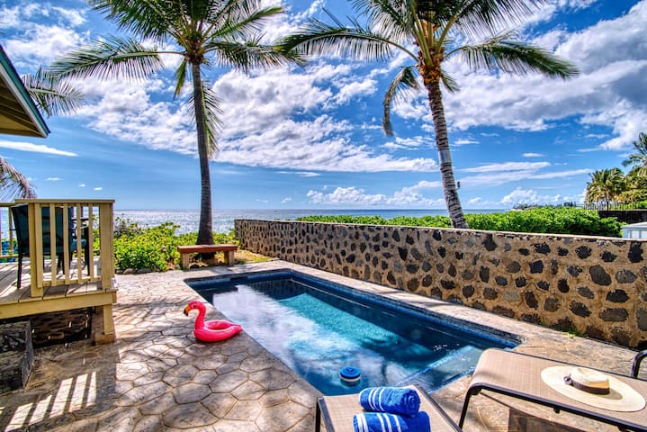 Tranquil lava rock oceanfront oasis home with pool