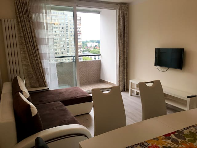 Apartment has a small balcony and is located on the 8th floor.