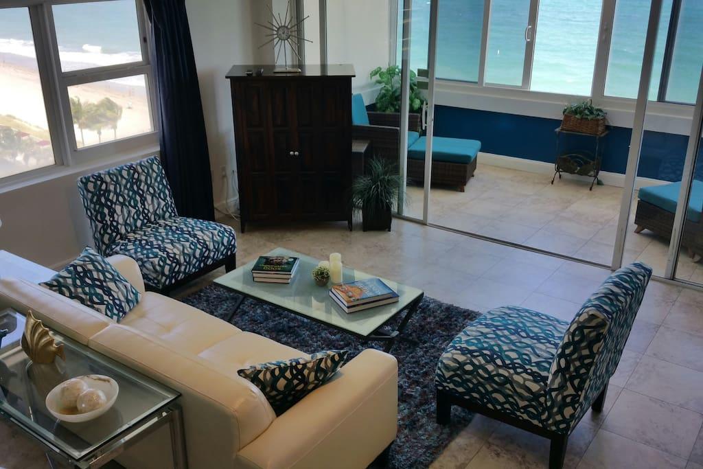 Living Room With Oceanfront & Side Ocean Views
