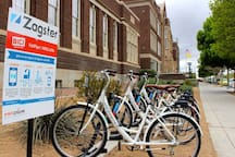 Bike Share in front of the building.