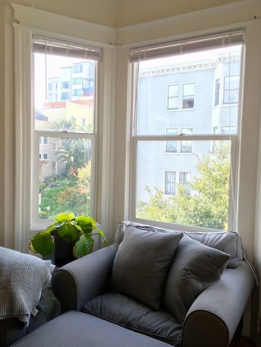 Bay windows and lots of natural light
