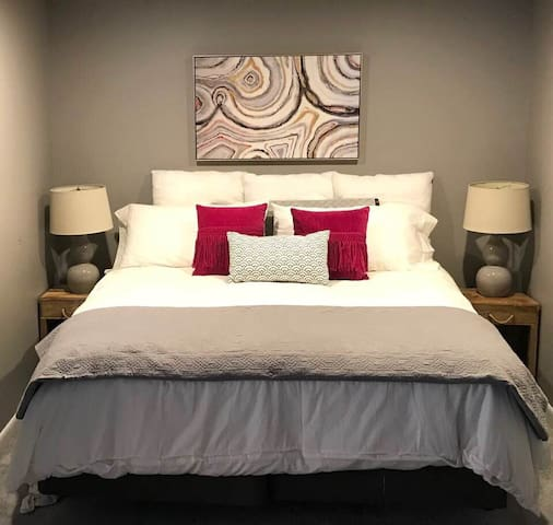 King bed with super comfy mattress and bedding
