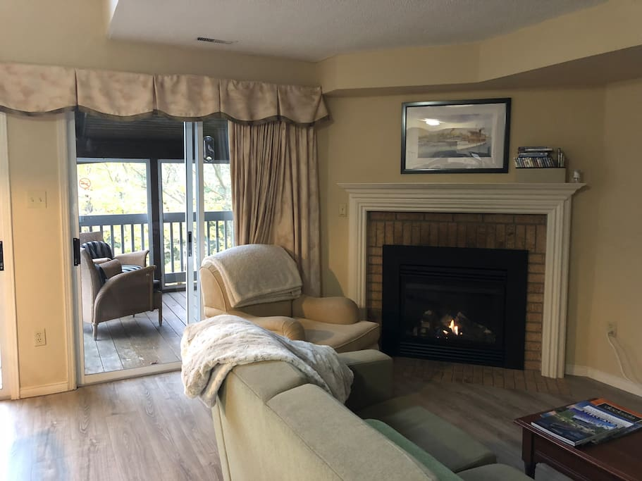 Enjoy the gas fireplace for warmth in the winter.