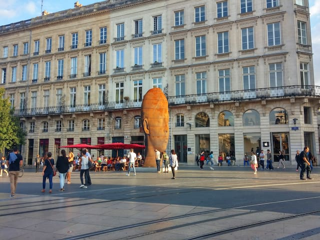 Bordeaux, l'entrée de la rue Saint Catherine, la plus grande rue piétonne commerçante d'Europe.