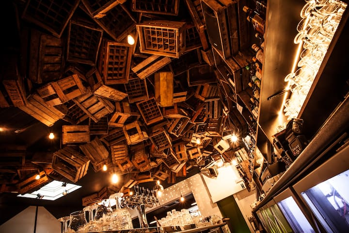 Nice wooden crates on the ceiling!