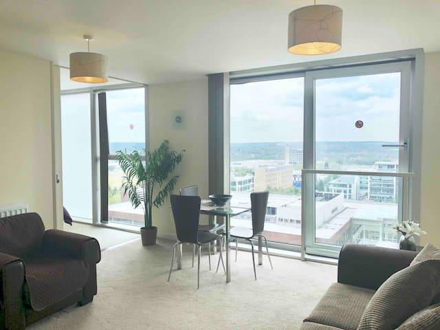 MK HUB Amazing city views: 10th floor apt- parking
