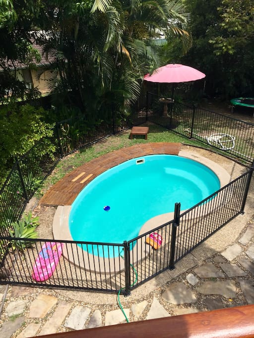 Pool with fence, safety approved.