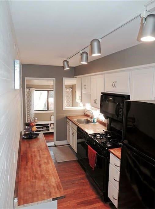 Kitchen with toaster, coffee grinder, etc.