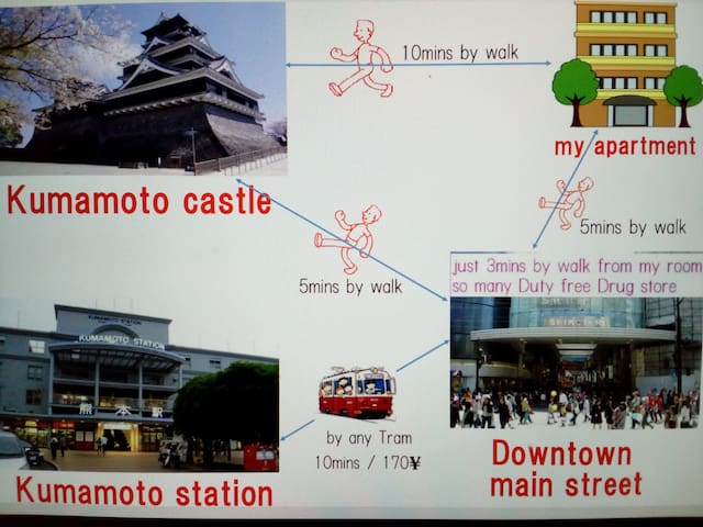 Downtown & 9mins to Castle by walk & Hot fun Host! - Kumamoto-shi - Apartmen