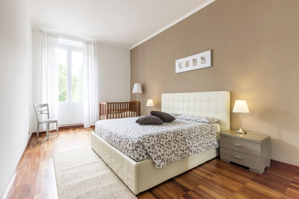 First bedroom:the white and brown one