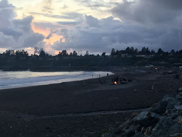 Sunset and camp fires on the beach. People are crazy friendly in this spot in particular.