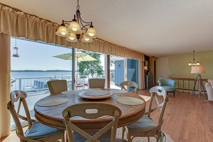 Dining area has amazing views, opening the 2 over sized sliders is a game changer!
