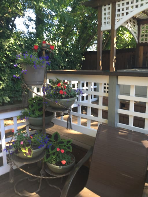 A corner of the deck below the hot tub